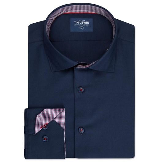 T.M.Lewin Plain Twill Navy Shirt