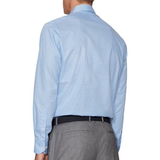 T.M.Lewin Pine Print Blue Shirt
