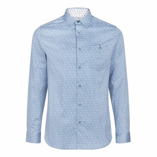 Ted Baker Bltee Long Sleeve Bird And Stripe Print Shirt