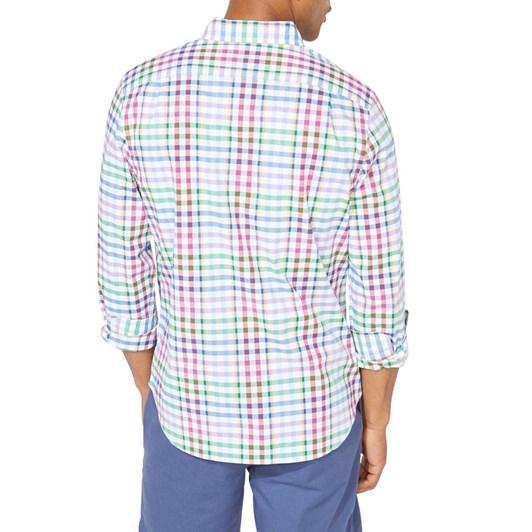 Nautica Classic Fit Stripe Plaid Spring Splice Poplin Shirt
