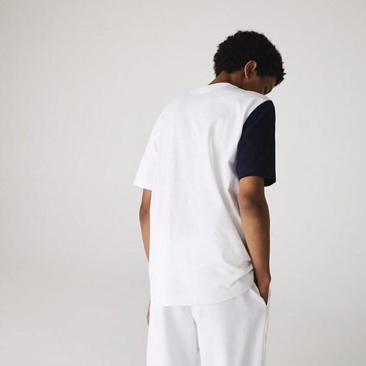 Lacoste  Stripe Panel T-Shirt White/Navy Blue-Utr