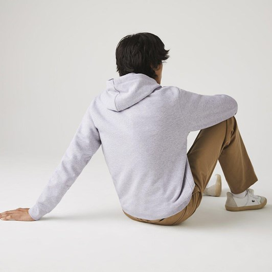 Lacoste  Lacoste Wording Non Brushed Hoodie Silve