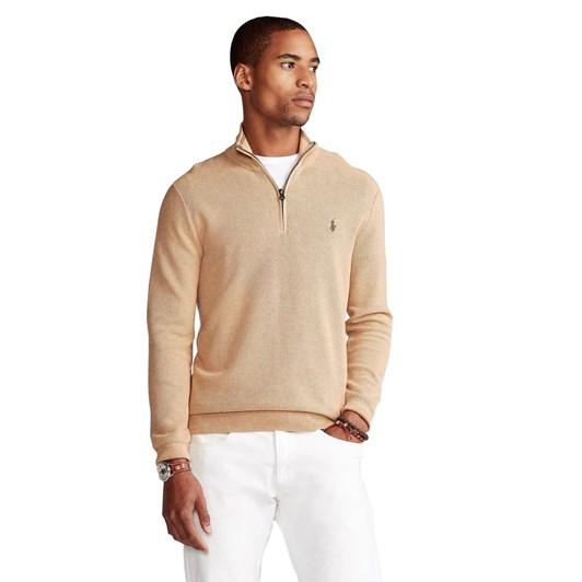 Polo Ralph Lauren Cotton Mesh Quarter-Zip Sweater