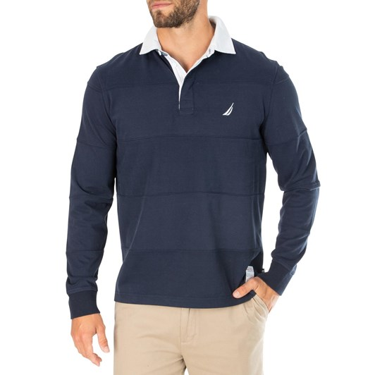 Nautica Ls Solid Rugby Polo