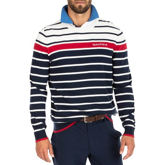 Nautica Tricolor Striped Crew