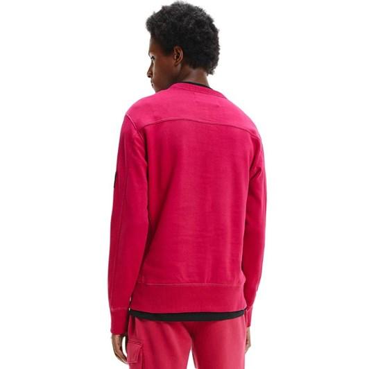 Calvin Klein Organic Cotton Monogram Badge Sweatshirt Cerise