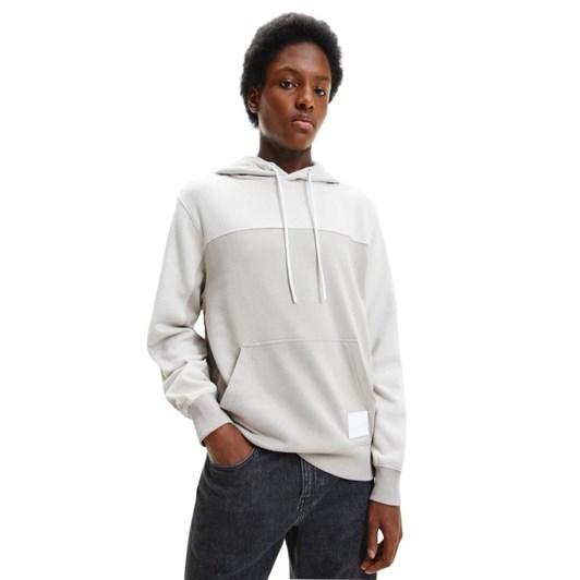Calvin Klein Organic Cotton Two-Tone Hoodie White Sand/String