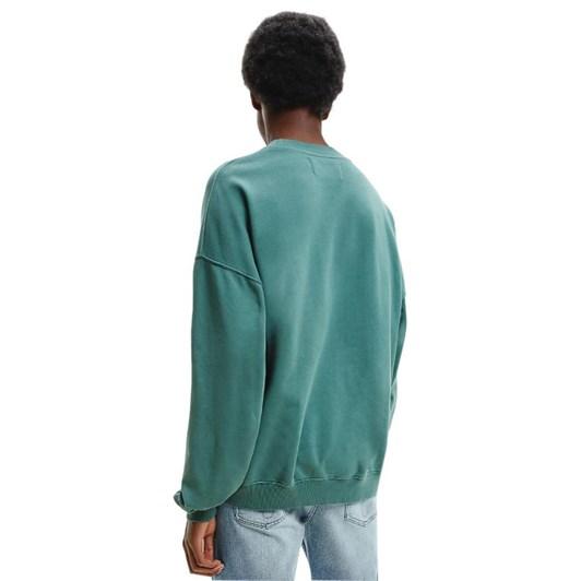 Calvin Klein Organic Cotton Embroidered Sweatshirt Duck Green