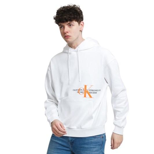 Calvin Klein Organice Cotton Graphic Logo CK Hoodie Bright White