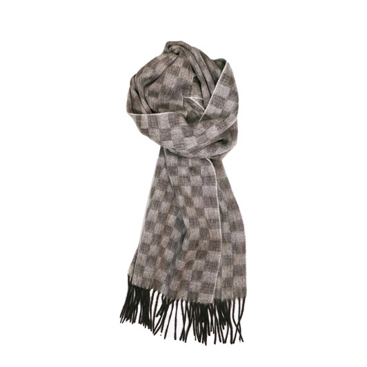 Fellini 100% Lambswool Sand Taupe Block Check Scarf