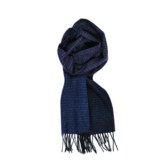 Fellini 100% Lambswool Deep Blue Panel Check Scarf