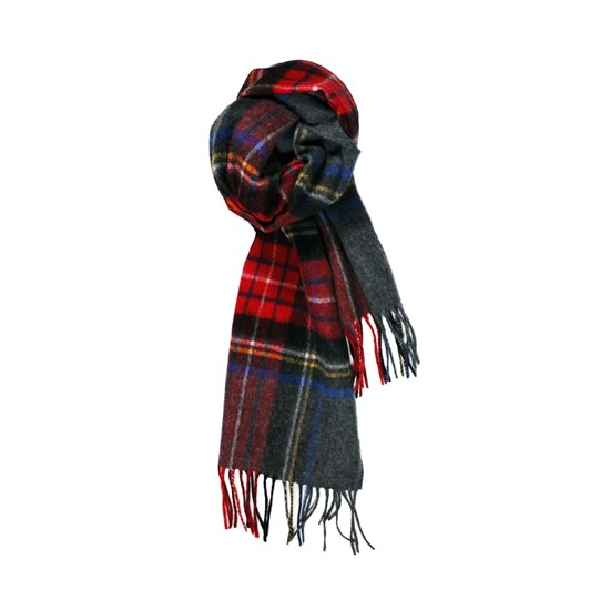 Fellini 100% Lambswool Charcoal Red Check Scarf