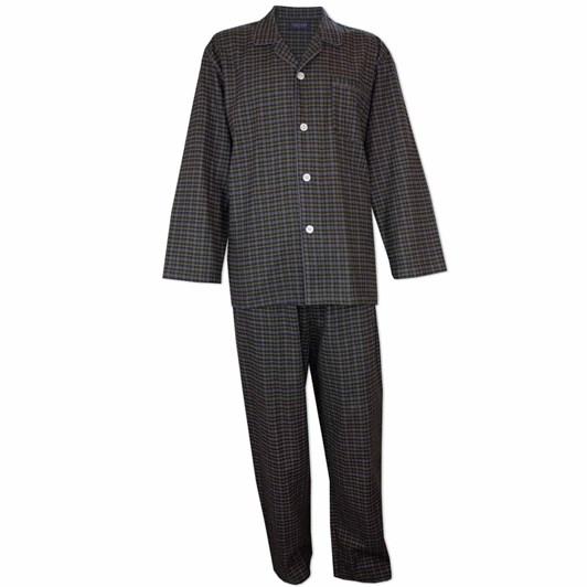 Contare Brushed Cotton Winterweight Pyjama Set Khaki Grey Tartan