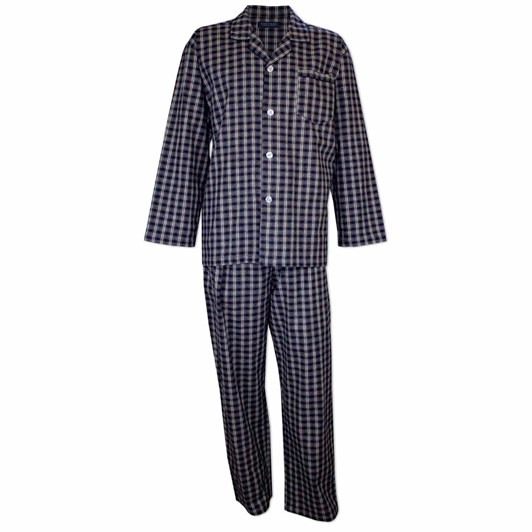 Contare Brushed Cotton Winterweight Pyjama Set Navy Ivory Tartan