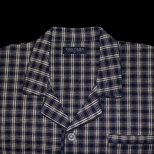 Contare Brushed Cotton Winterweight Nightshirt Navy Ivory Tartan