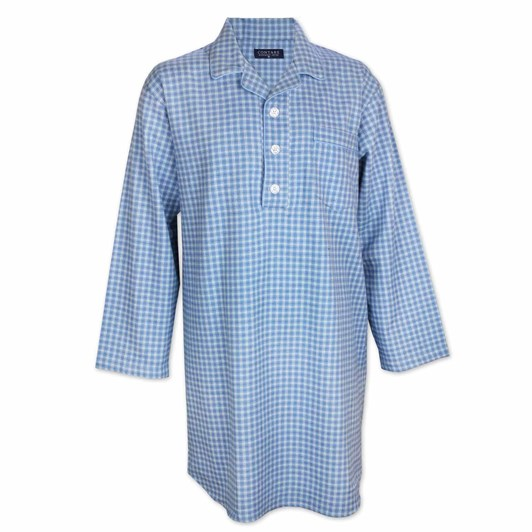 Contare Brushed Cotton Winterweight Nightshirt Light Blue Check