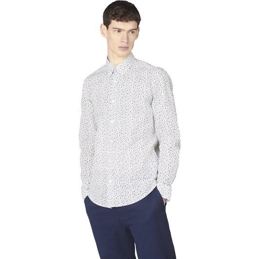 Ben Sherman LS Irregular Spot Print Shirt Ivory