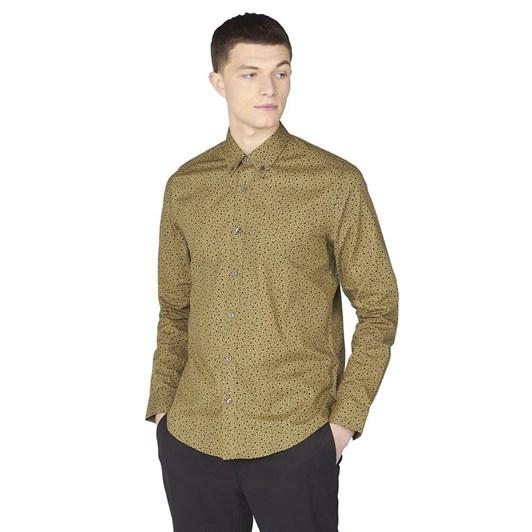 Ben Sherman LS Irregular Spot Print Shirt Olive