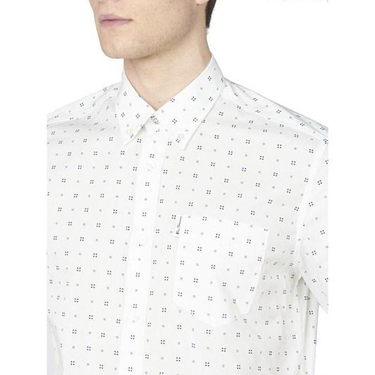 Ben Sherman SS Scattered Geo Print Shirt Snow White