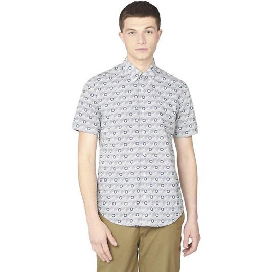 Ben Sherman SS Retro Print Shirt Mood Indigo