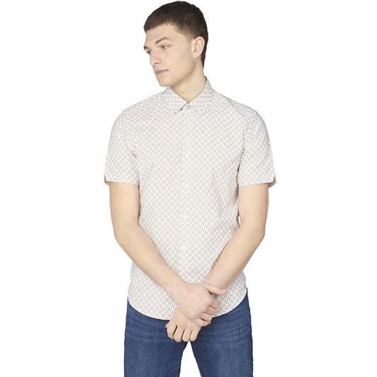 Ben Sherman SS Faded Square Print Shirt Snow White