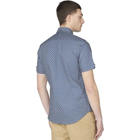 Ben Sherman SS Faded Square Print Shirt Mood Indigo
