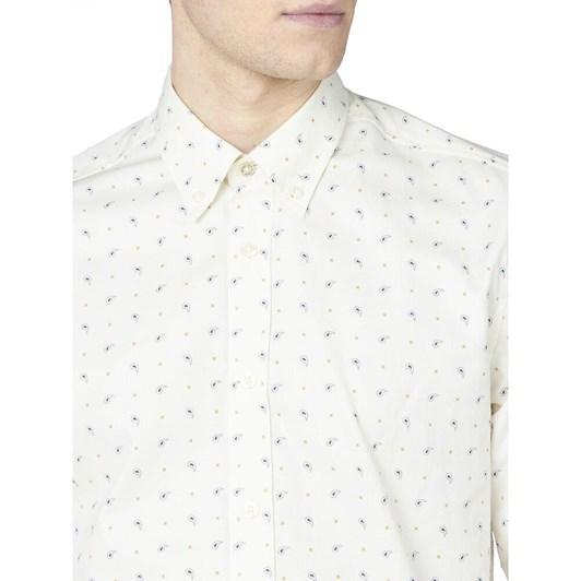 Ben Sherman LS Mini Paisley Print Shirt Ivory