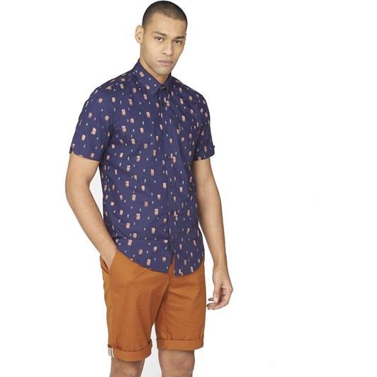 Ben Sherman SS Dash Print Shirt Marine