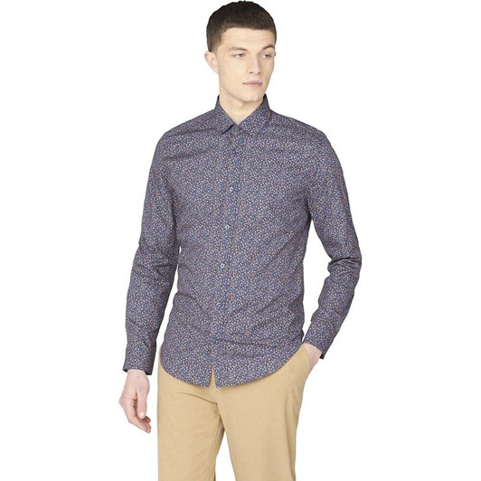 Ben Sherman LS Multicolour Floral Print Shirt Marine