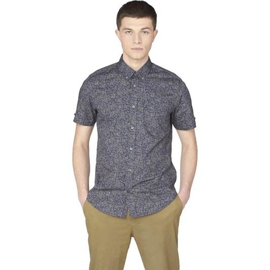 Ben Sherman SS Linear Print Shirt Pale Khaki
