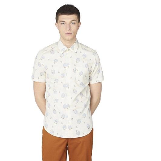 Ben Sherman SS Abstract Print Shirt Ivory