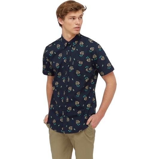 Ben Sherman SS Abstract Print Shirt Marine