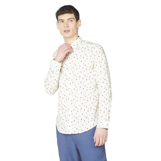 Ben Sherman LS Tulip Print Shirt Ivory