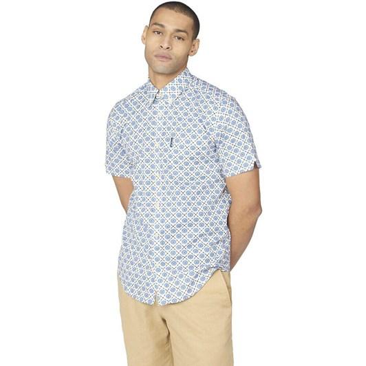 Ben Sherman SS Block Floral Shirt Rivera Blue
