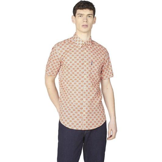 Ben Sherman SS Block Floral Shirt Mango