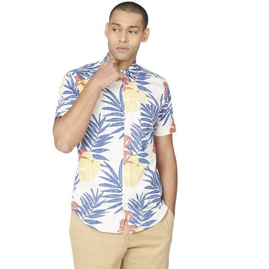 Ben Sherman SS Reverse Palm Print Shirt Mango