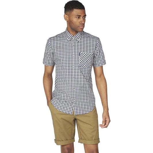 Ben Sherman SS Mini Gradient Check Shirt Marine