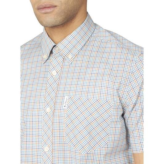 Ben Sherman SS Mini Gingham Shirt Lake Blue