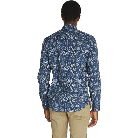 Ben Sherman LS Foulard Print Shirt Mood Indigo
