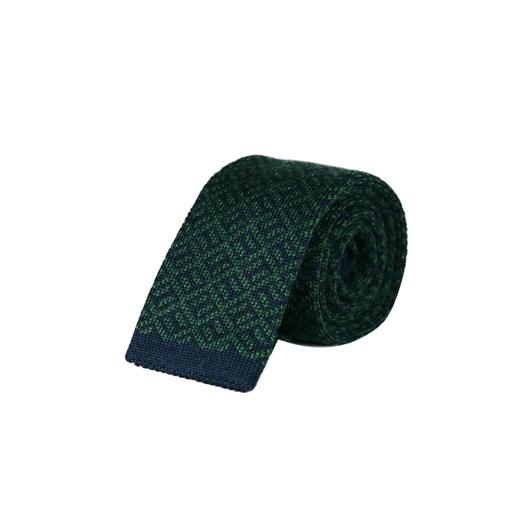 Monti Castello Knitted Tie - Green Navy Geometric