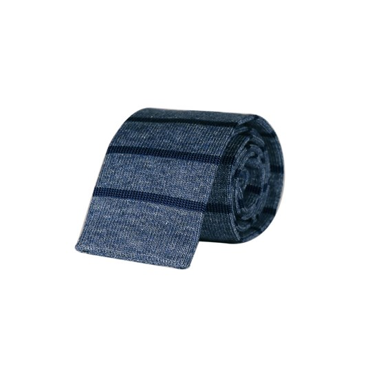 Monti Castello Knitted Tie - Sky Navy Horizontal Stripe