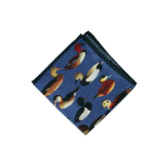 Monti Castello 100% Silk Pocket Square - Herringbone Drake Duck