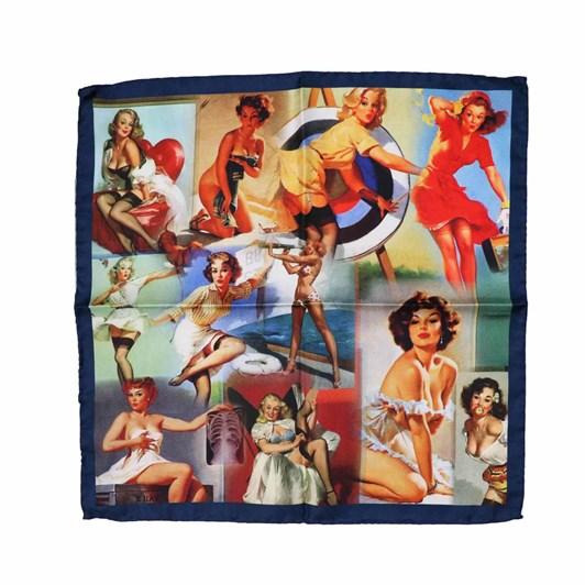 Monti Castello 100% Silk Pocket Square - Action Lady Pin Ups