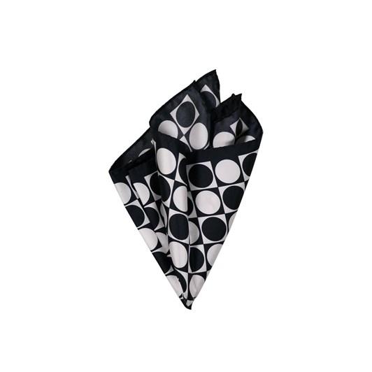 Monti Castello 100% Silk Pocket Square - Black And White Geometric