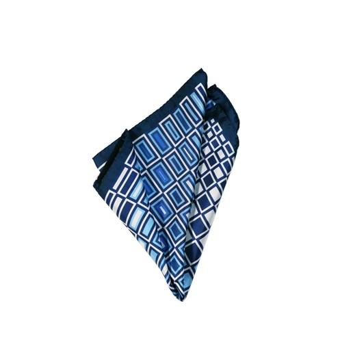 Monti Castello 100% Silk Pocket Square - Kaleidescope Blue Squares