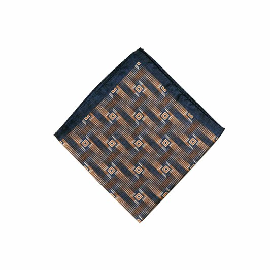 Monti Castello 100% Silk Pocket Square - Navy Gold Shaded Squares