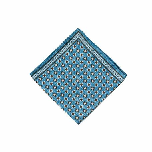 Monti Castello 100% Silk Pocket Square - Ocean Bronze Floating Squares