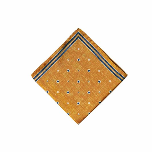 Monti Castello 100% Silk Pocket Square - Olde Gold Navy Spot