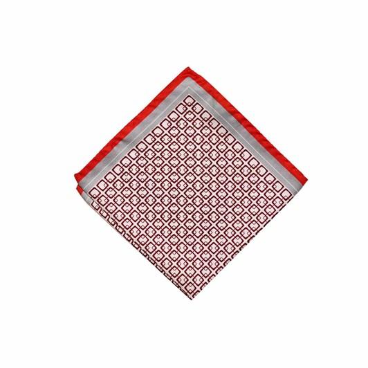 Monti Castello 100% Silk Pocket Square - Wine Red Silver Linked Squares