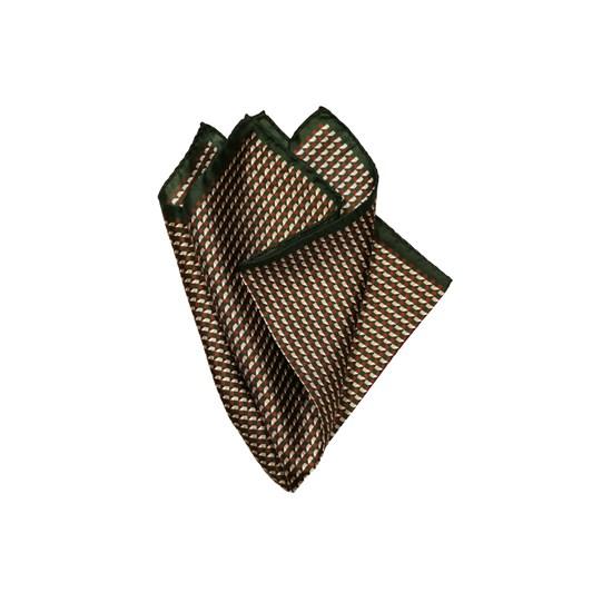 Monti Castello 100% Silk Pocket Square - Green Bronze Mini Geometric Neat